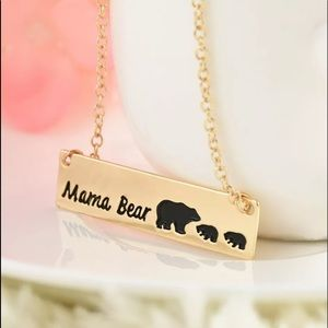 Mama Bear Gold Bar Necklace
